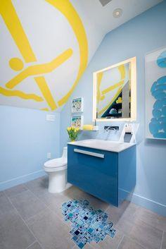 Bathroom: Drop Into Blue. bathroom color. blue bathroom. blue vanity storage. yellow ceiling mural. blue wall art. white sink.