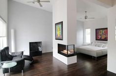 modern interiors with double faced modern fireplaces and room dividers