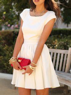 White Short Sleeve Open Back Flare Dress -SheIn(Sheinside) Mobile Site