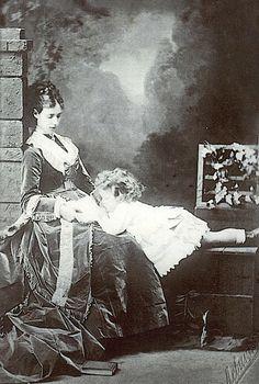 Princess Dagmar (Marie Sophie Fredrica Dagmar) (Maria Feodorovna) (1847-1928) Denmark (wife of of Emperor Alexander III (Alexander Alexandrovich Romanov) (1845-1894) Russia) with their 1st Child, the future Tsar Nichloas II (Nikolay Alexandrovich Romanov) (1868-1918) Russia.