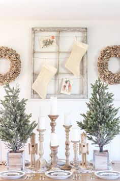 A beautiful farmhouse table decorated for the holidays!