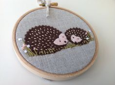 Felt hedgehog hoop art.  Woodland animal textile art