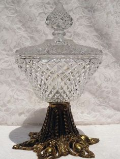 Vintage Brass Footed Diamond Point Glass Compote Candy Dish Indiana Ornate Gold