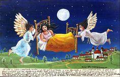 В моей жизни всё слишком усложнилось, я чувствовала себя угнетенной и ослабленной. И тогда я, как в детстве, стала молиться своему ангелу-хранителю, чтобы он помог мне отвлечься от всех докучливых проблем. Ночью ангел явился вместе со своим приятелем, они подхватили мою кровать, и мы полетели высоко над деревней. ... И вдруг такое счастье наполнило мою грудь, что я больше не думала ни о чем другом — только о необъятной окружающей красоте. Теперь моя жизнь стала намного богаче и радостнее.