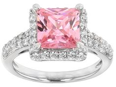 Bella Luce (R) 5.21ctw Pink And White Diamond Simulants Rhodium Over Sterling Silver Ring