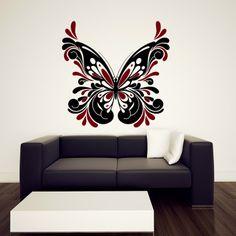Butterflies flying from the clock interior design sticker vinyl decal wall art 351