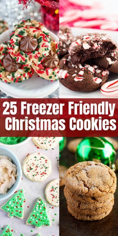 25 Freezer Friendly Christmas Cookies Make your life easier and start baking those Christmas cookies now! These scrumptious recipes can be made in advance and frozen, and they taste freshly baked when you thaw them! Christmas Cookie Exchange, Best Christmas Cookies, Christmas Snacks, Christmas Cooking, Holiday Cookies, Holiday Desserts, Holiday Treats, Holiday Recipes, Christmas Parties