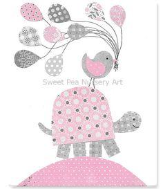 Gray and Pink Nursery Turtle Nursery by SweetPeaNurseryArt on Etsy, $15.00
