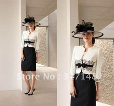 New Fashion DM061 Three Quarter Sleeves Jacket Formal Black and Ivory Mother of the Bride Dress Knee Length on AliExpress.com. $134.57