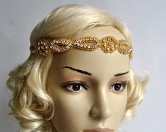 Rhinestone Headband, Wedding Headband, Crystal Headband, Wedding beaded Headpiece, Halo Bridal Headpiece, 1920s Flapper headband, in Gold