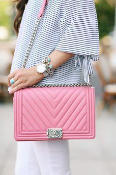 pink chanel boy bag