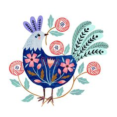 An animated gif created from my rooster art, which features on the cover of my new book 'Creative Folk Art and Beyond', available from here… Folk Art Flowers, Flower Art, Art And Illustration, Rooster Illustration, Cat Illustrations, Animiertes Gif, Animated Gif, Rooster Art, Scandinavian Folk Art