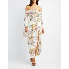 Charlotte Russe Floral Smocked Off-The-Shoulder Maxi Dress ($23) ❤ liked on Polyvore featuring dresses, white combo, long maxi skirts, long skirts, chiffon maxi dress, boho maxi dress and slit maxi skirt