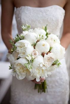 wedding bouquet with coral charm peonies, succulents, and proteas via Sarah Falugo Photography