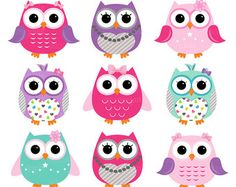 Cute owls digital clip art set clipart vector graphic by Illustree