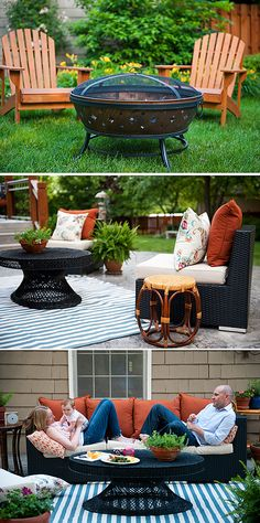 It's amazing what just a few new cushions, an outdoor rug, and some rearranging can do to make a patio look new again. Tobe Reed of  Because It's Awesome moved her fire pit and added some color to her patio with new paprika cushions, and her outdoor space was transformed. || @its_awesome