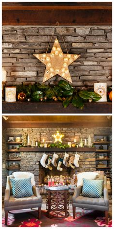 Christmas Decoration Ideas, Cheap Decor Is Good Choice to Save Money: Shiny Star Decoration With LED Light Glass Christmas Tree On Rock Fire...