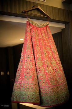 Nidhi Tholia bridal lehenga , gota patti bridal lehenga , jade green and coral lehenga , lehenga on hanger