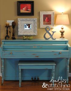 Shabby Chic Furniture on the CHEAP! ~ I'm A Lazy Mom....DIY chalk paint recipe blue piano