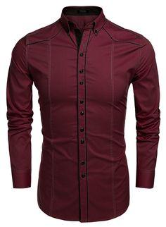 Men's Button Down Dress Shirt Slim Fit Casual Shirts Wine Red - Men's style, accessories, mens fashion trends 2020 Slim Fit Casual Shirts, Formal Shirts For Men, Stylish Shirts, Men Casual, Mens Designer Shirts, Designer Clothes For Men, Gents Shirts, Indian Men Fashion, Mens Fashion