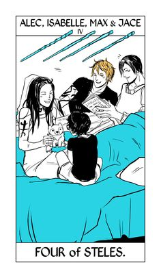 A little bit of Thursday heartbreak. The four of steles/wands from Cassandra Jean's Shadowhunter Tarot, a card that often represents home and family. The Lightwood kids in happy past days.