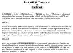 Printable Sample Last Will And Testament Template Form  Real