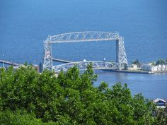 View of Aerial Bridge from top of Enger Tower, Duluth, Mn