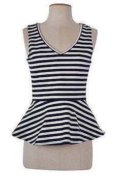 Sexy Multi-Color Striped Sleeveless Ponte Knit Peplum Cami Tank Top Shirt Blouse