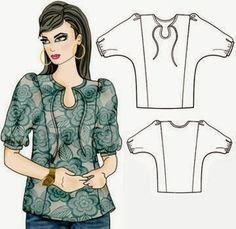 Free pattern for soft blouse ... gráfico del patrón