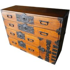 Japanese Meiji Period Stained Pine Tansu Chest  Circa 1900 | From a unique collection of antique and modern commodes and chests of drawers at https://www.1stdibs.com/furniture/storage-case-pieces/commodes-chests-of-drawers/