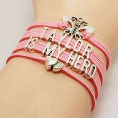 Customisable Name Is My Hero Pink Breast Cancer Awareness Bracelet. These can be customised with any name up to 11 letters. You will get the same bracelet as the pictures, and the charms are antique s