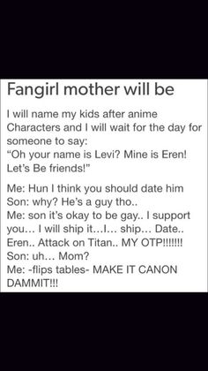 I can totally see me like this when I am a mother and I will make my kids name their kids after anime characters