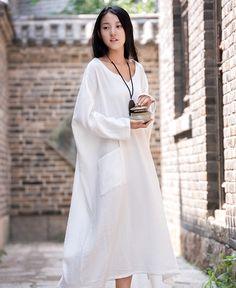 Plus Size White Linen Dress