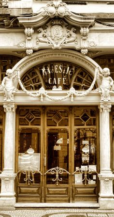 Beautiful and traditional Majestic Café ~ Porto, Portugal Places In Portugal, Portugal Travel, Spain And Portugal, Portugal Trip, Architecture Art Nouveau, Beautiful Architecture, Porto City, Shop Fronts, Portuguese