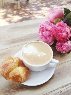 Peiones | Pretty Pink Peonies Breakfast Latte and Croissant by Olivia Frescura