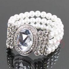 Crystal & Pearl Fashion Stretch BraceletAB191-B1735