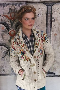 Embroidered Cableknit Cardigan