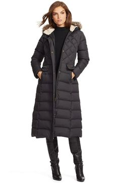 Lauren+Ralph+Lauren+Faux+Fur+Trim+Hooded+Long+Down+&+Feather+Fill+Coat+available+at+#Nordstrom