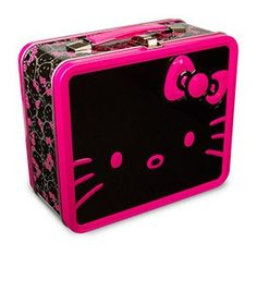 Hello Kitty Big Face Lunchbox-Black/Pink