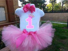 Princesa 1er cumpleaños tutu set tutú rosa de por MommiesKreationz, $38.00