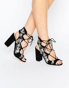 20100e7450d8a3 Image 1 of Miss Selfridge Floral Embroidered Sandal Unique Shoes