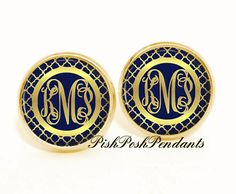 Hey, I found this really awesome Etsy listing at https://www.etsy.com/listing/207552308/monogram-earrings-personalized-navy-gold