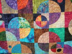 King Size Batik Handmade Quilt  Planets 'N by MooseCarolQuilts