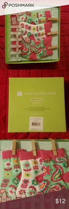 NEW Vera Bradley gift boxed socks set- Tutti Frutt New in box set of Vera Bradley socks for baby size 0-12 mos. Absolutely adorable packaging, perfect for gift giving! Print is Tutti frutti. Thank you and please check out my closet and bundle deals! ??? Vera Bradley Accessories Socks & Tights