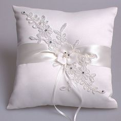 Gorgeous off white satin and lace ring pillow with pearl
