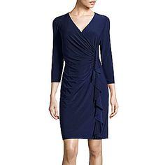 jcp | Black Label by Evan-Picone 3/4-Sleeve Ruffle Sheath Dress