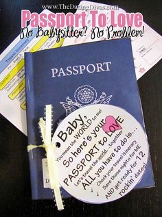 Looking for a meaningful, quick, and FREE gift?  This is it!  Give him a Passport to Love...and travel the world with your spouse on 12 different dates throughout the year!  www.thedatingdivas.com  #datenights #dateideas #dates