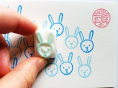 rabbit rubber stamp. small animal face stamp. hand carved rubber stamp.