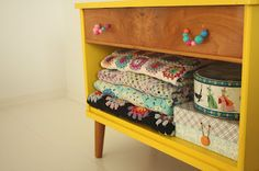 furniture, yellow paint and beads