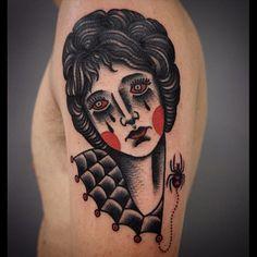 Woman Tattoo by Giacomo Sei Dita TraditionalTattoo TraditionalTattoos ClassicDesigns ClassicTattoos OldSchool GiacomoSeiDita lady spider traditional Pin Up Tattoos, Time Tattoos, Body Art Tattoos, Tattoo Drawings, Tattoos For Guys, Tattoos For Women, Cool Tattoos, Make Tattoo, Real Tattoo